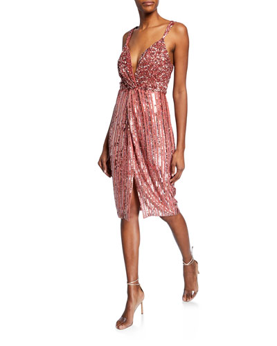 Umi Beaded V-Neck Twist-Front Cocktail Dress