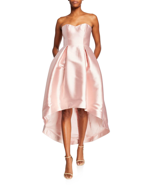 c15b16207d6 Parker Black Roxanne Strapless High-Low Bustier Satin Dress