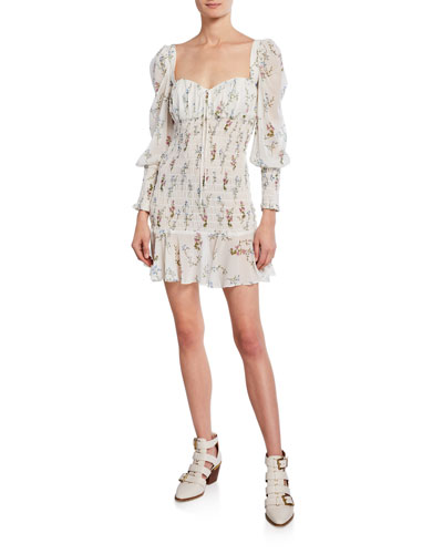 Dixon Floral-Print Sweetheart Long-Sleeve Smocked Mini Dress