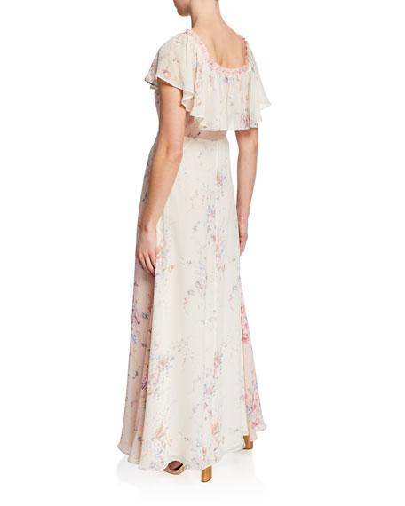 Loveshackfancy Evelyn Silk Faded Floral Off-the-Shoulder Dress