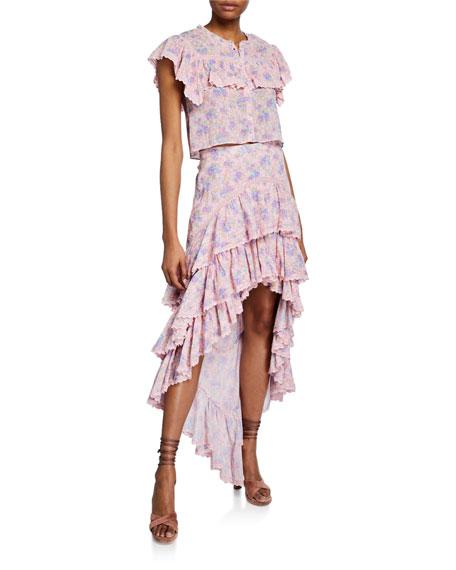 LoveShackFancy Elle Floral Tiered Ruffle High-Low Skirt