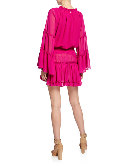 MISA Los Angeles Leeva Bell-Sleeve Chiffon Mini Dress
