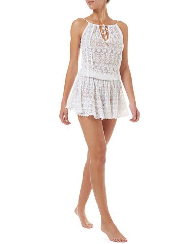 Zoe Sleeveless Lace Short Coverup Dress