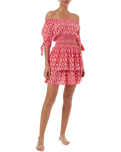 Camilla Printed Off-Shoulder Coverup Dress