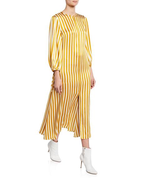 Olivia Von Halle Margeux - Noemi Striped 3/4-Sleeve Silk Dress