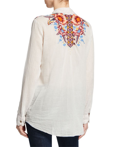 Johnny Was Caila Striped Button-Front Blouse w/ Embroidery