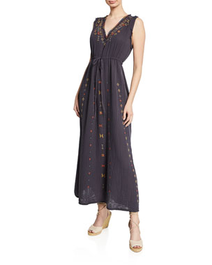 901d1f0bfdbf Johnny Was Casablanca Sleeveless Drawstring-Waist Gauze Maxi Dress