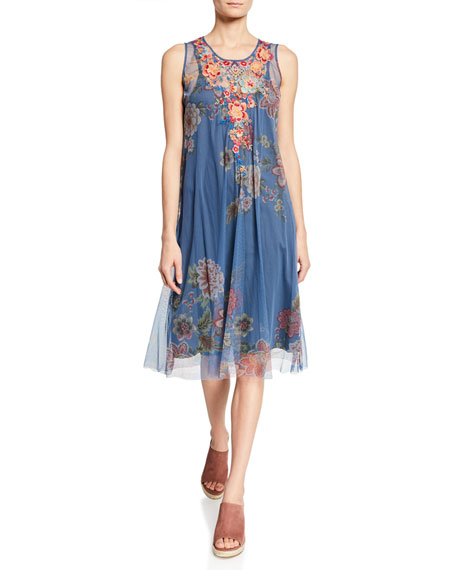 Johnny Was Mosria Floral-Print Sleeveless Mesh Dress w/ Embroidery