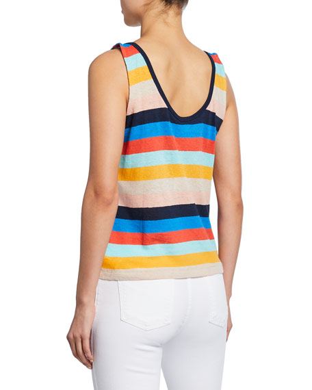 Splendid Sunray Striped Scoop-Neck Linen/Cotton Tank