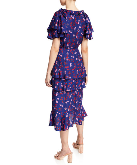 La Maison Talulah The Yearning Floral-Print Ruffle Midi Dress