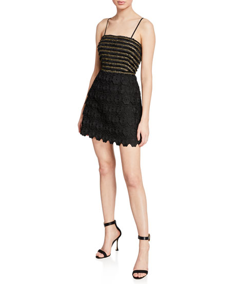 La Maison Talulah Tempest Studded Ruffle Short Dress w/ Embroidery