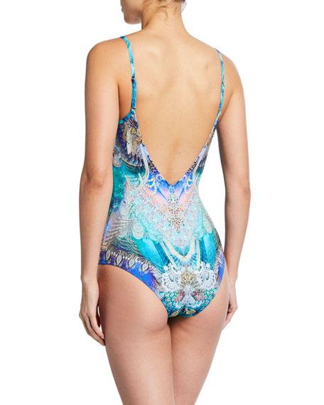 Camilla Embellished V-Neck One-Piece Swimsuit