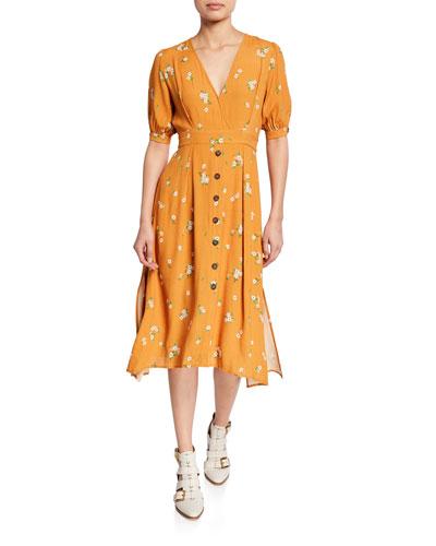 Oakley Floral-Print Short-Sleeve Tie-Waist Midi Dress