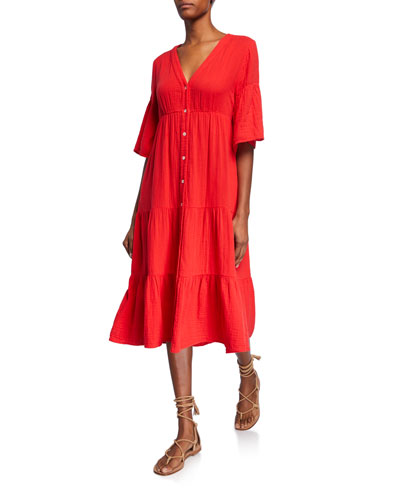 Kendall Button-Front Elbow-Sleeve Tiered Midi Dress