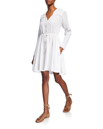 Sibyl V-Neck Long-Sleeve Drawstring-Waist Cotton Dress