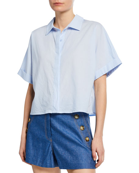 Cupcakes and Cashmere Lemond Button-Front Short-Sleeve Crop Shirting Blouse