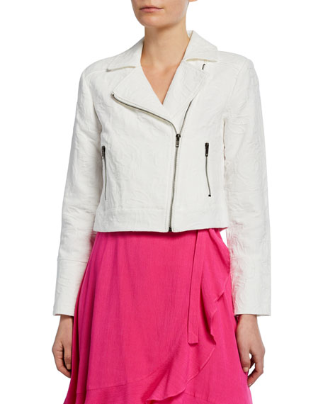 Cupcakes and Cashmere Rio Zip-Front Jacquard Moto Jacket