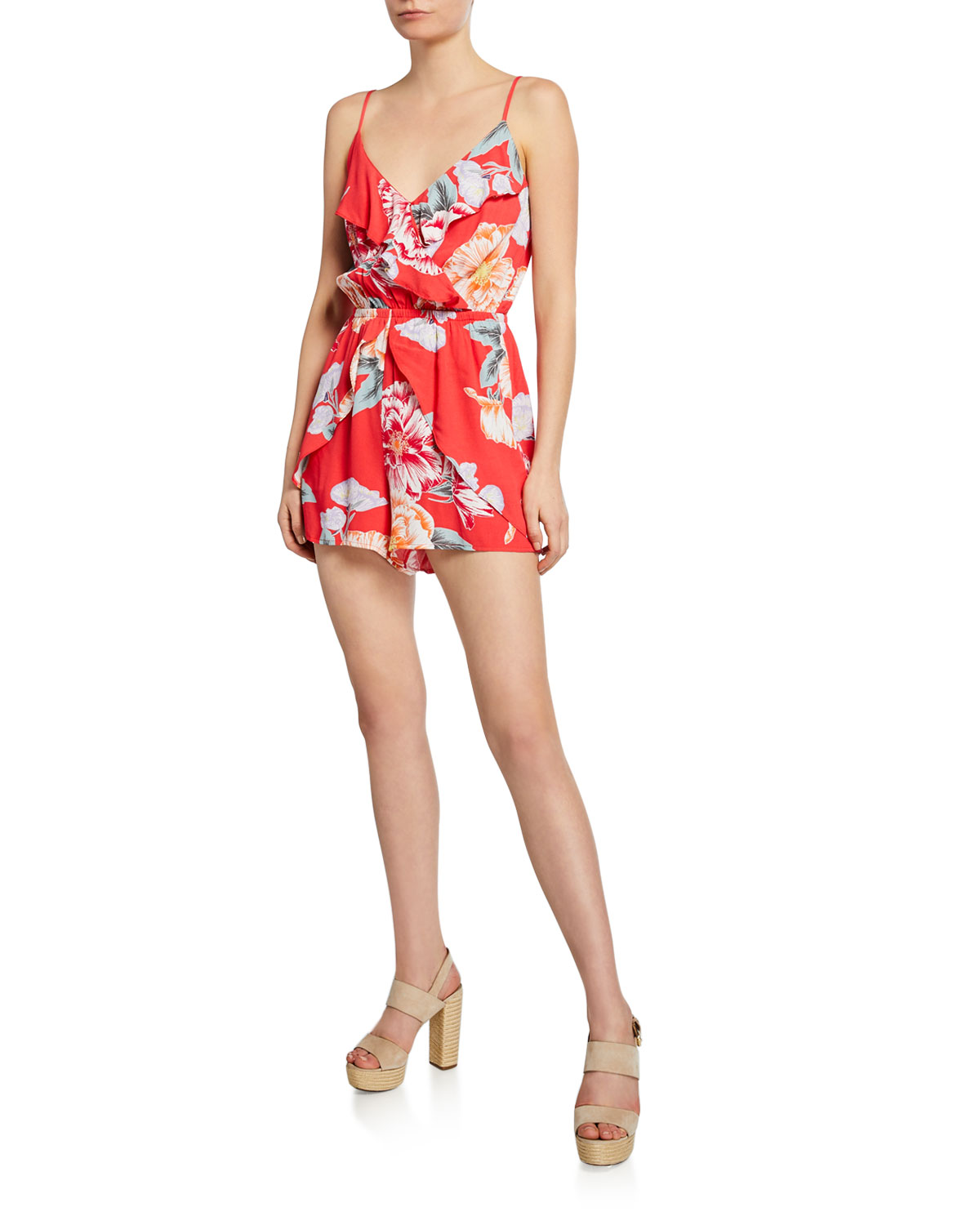 Astria Floral Print Ruffle Romper by Cupcakes And Cashmere