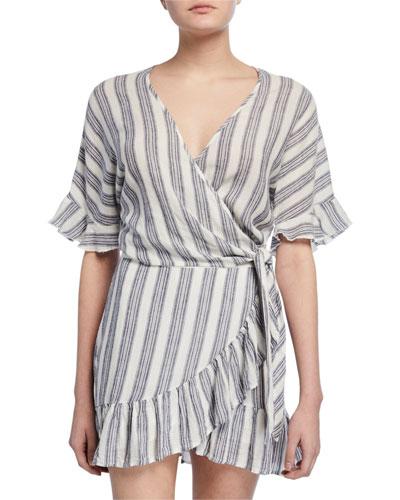 Athena Striped Wrap Top
