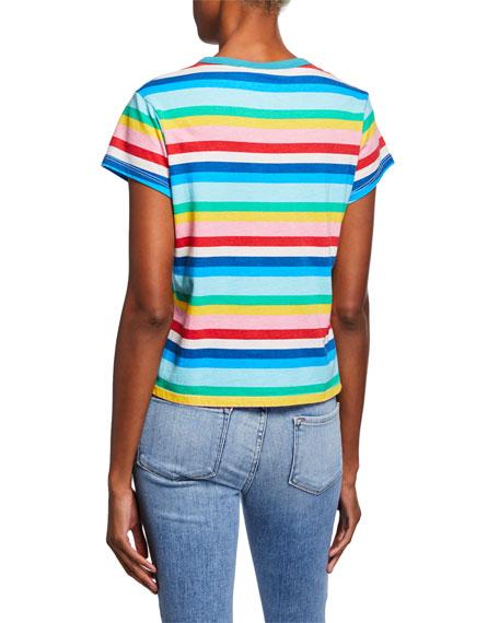 Pam & Gela Rainbow-Stripe Short-Sleeve Cotton Tee