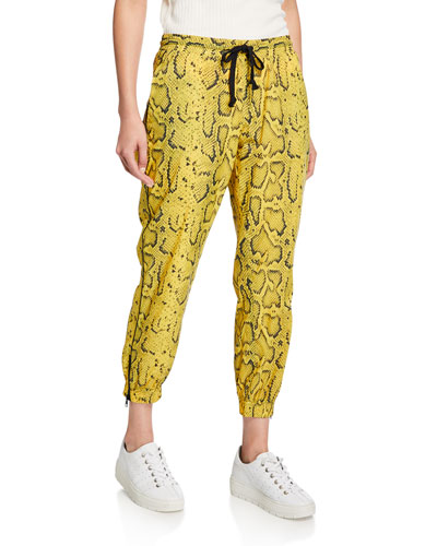 Snake-Print Track Pants with Zippers