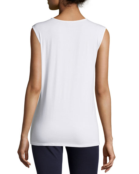 Eileen Fisher Plus Size Lightweight Sleeveless Scoop-Neck Tee
