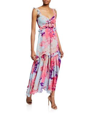 eb2cb9f71273 MISA Los Angeles Otavia Printed Sweetheart Sleeveless Ruffle Maxi Dress