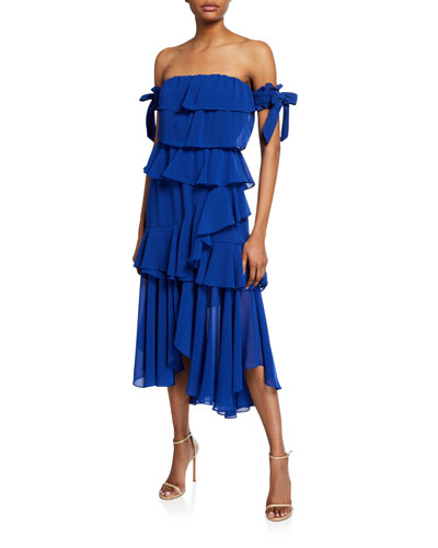 Isidora Ruffled Tiered Off-the-Shoulder Dress