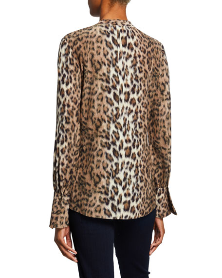 Joie Tariana Leopard-Print Button-Front Long-Sleeve Top