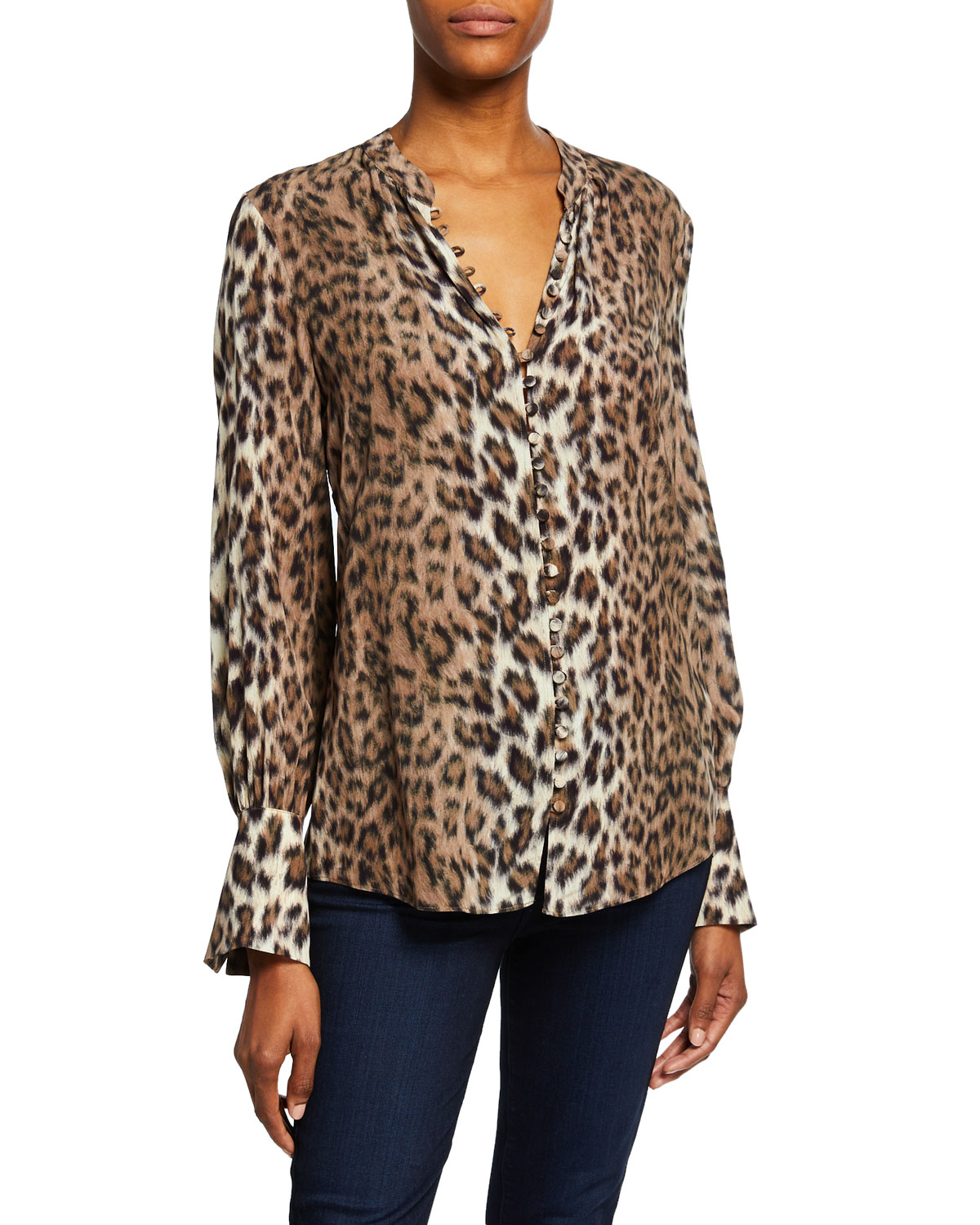 ef814d39f099 Joie Tariana Leopard-Print Button-Front Long-Sleeve Top | Neiman Marcus