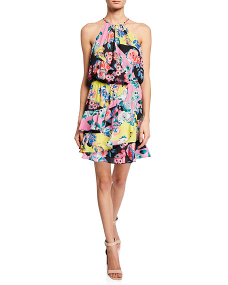 Parker Cosma Floral-Print Mini Ruffle Halter Dress
