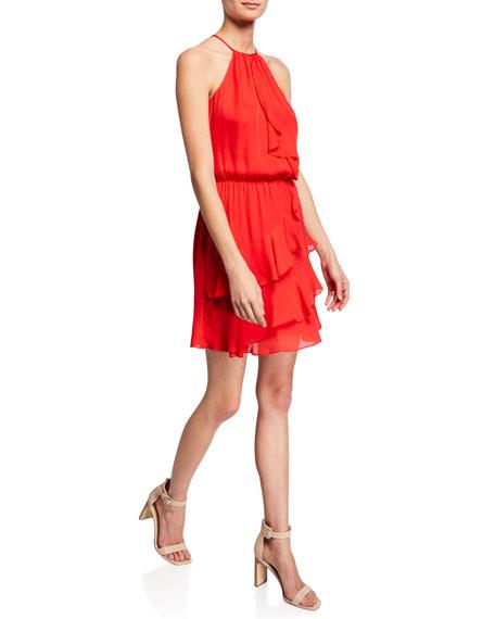 Parker Cosma Halter Mini Ruffle Dress