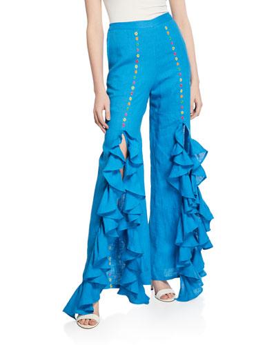 Gaho Split Embroidered Rumba Ruffle Pants