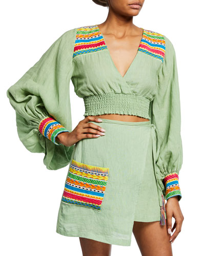 Cora Cropped Blouson-Sleeve Top w/ Embroidery