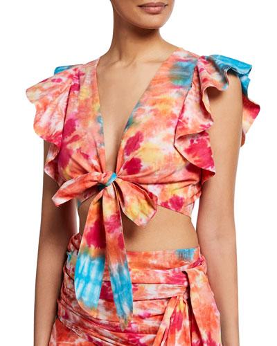 Lana Tie-Dye Wrap Top