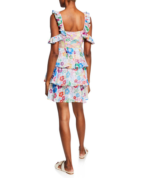 All Things Mochi Ilima Embroidered Floral Tiered Cold-Shoulder Dress