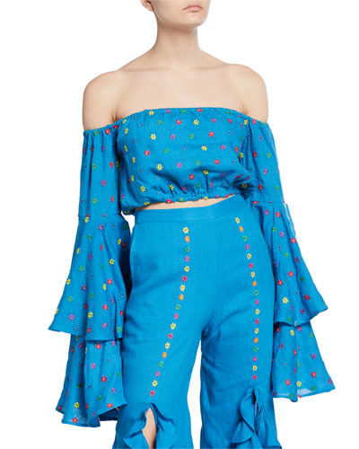 Warli Embroidered Bell-Sleeve Crop Top
