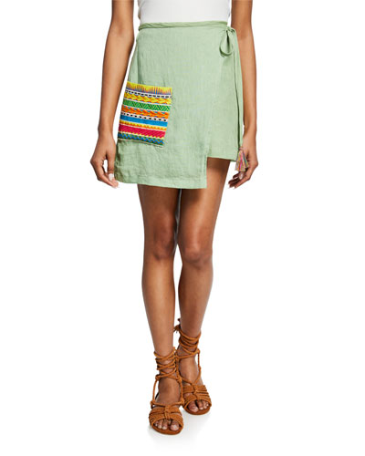 Ivy Linen Wrap Skirt w/ Embroidered Pocket