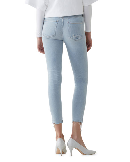 AGOLDE Sophie Parallel High-Rise Cropped Skinny Jeans with Frayed Hem
