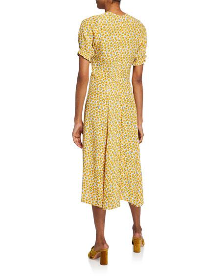 Faithfull the Brand Ari Floral-Print Short-Sleeve Midi Dress