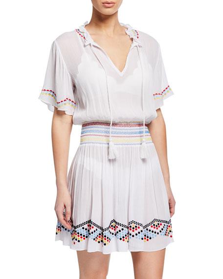 Shoshanna Embroidered Dot Coverup Dress