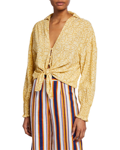 Faithfull the Brand Aira Tie-Front Smocked-Sleeve Top