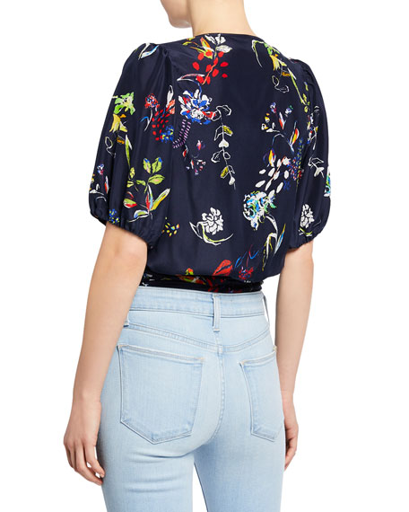 Tanya Taylor Leira Floral-Print Short-Sleeve Tie-Waist Crop Top