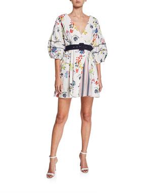 d8311f66122b16 Tanya Taylor Rachele II Floral-Print Balloon-Sleeve Belted Mini Dress