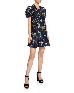 054607b207208b Tanya Taylor Aliciana Floral-Print Short-Sleeve Mini Flounce Dress