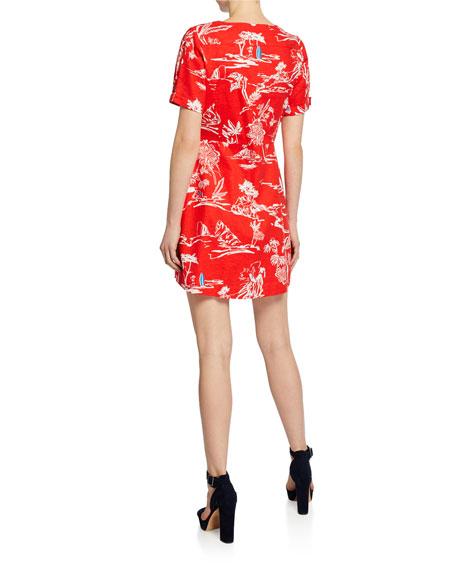 Tanya Taylor Alda Printed Short-Sleeve Mini Wrap Dress
