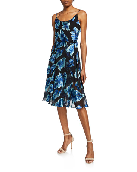 Alice + Olivia Heather Leaf-Print Sleeveless Mock-Wrap Dress