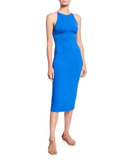 Alice + Olivia Delora Spaghetti Strap Fitted Midi Dress