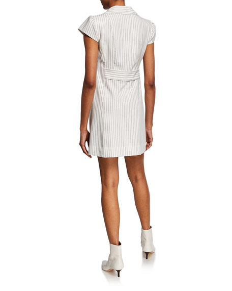 Nanette Lepore Striped Double-Breasted Cap-Sleeve Mini Coat Dress