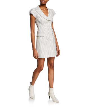 548fe4a865f4 Nanette Lepore Striped Double-Breasted Cap-Sleeve Mini Coat Dress
